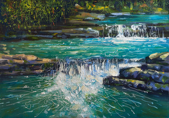 View of the cascading river Dagomys in the Sochi national park. Landscape - decorative texture on canvas. Painting: oil on canvas. Author: Nikolay Sivenkov.