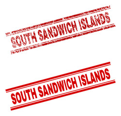 SOUTH SANDWICH ISLANDS stamp seal watermark with distress and clean styles. Red vector rubber print of SOUTH SANDWICH ISLANDS text with retro texture.