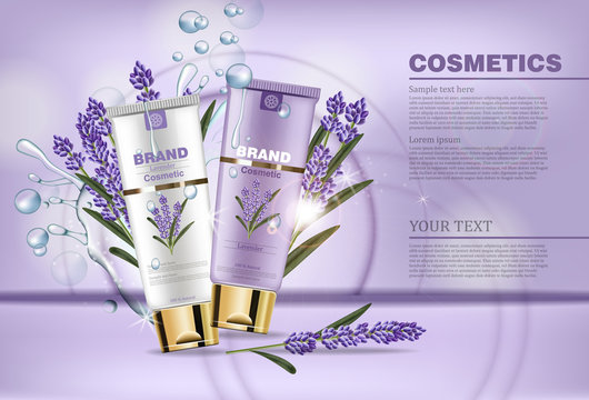 Lavender cream cosmetic Vector mock up. Realistic product packaging label design. Lotion hydrating aroma therapy. Waterdrops and laveder flowers bouquets backgrounds