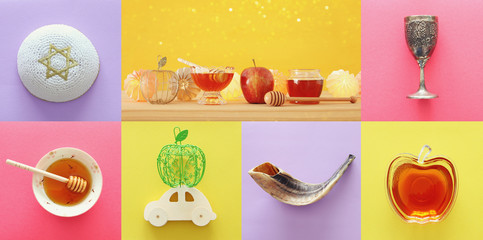 Rosh hashanah (jewish New Year holiday) collage concept. Traditional symbols.
