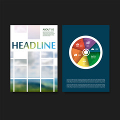 Modern Style Tiled Flyer or Cover Design for Your Business with Blurred Hills and Sky View Image - Applicable for Reports, Presentations, Placards, Posters - Creative Vector Template