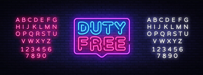 Duty Free neon sign vector. Duty Free design template neon sign, light banner, neon signboard, nightly bright advertising, light inscription. Vector illustration. Editing text neon sign