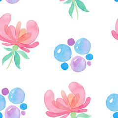 Seamless pattern with painted decorative pink flowers and beads on a white background. Watercolor illustration