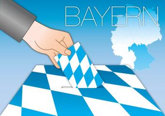 Bavaria Bayern voting ballot box with flag, map and symbols