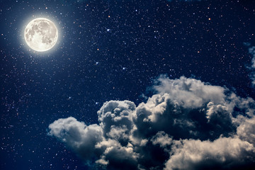 backgrounds night sky with stars and moon and clouds