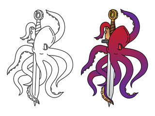 Coloring octopus with sample