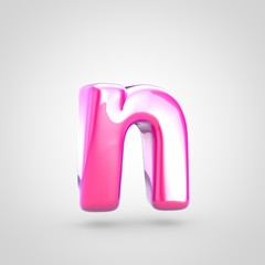 Pink letter N lowercase isolated on white background.