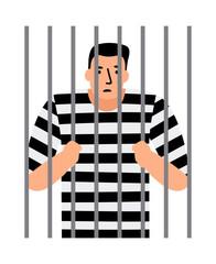 Criminal man in jail