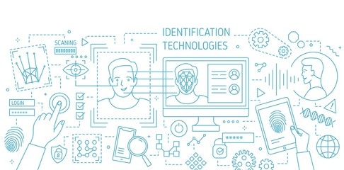 Banner with facial identification tools, software for fingerprint scanning, equipment for verification of person drawn with contour lines on white background. Vector illustration in lineart style.