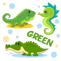 A set of green, cartoon pictures with reptiles and marine animals for children and design, crocodile, aligator, iguana and seahorse.