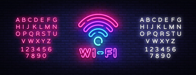 Wifi neon sign vector. Wifi symbol neon glowing letters shining, Light Banner, neon text. Vector illustration. Billboard. Editing text neon sign