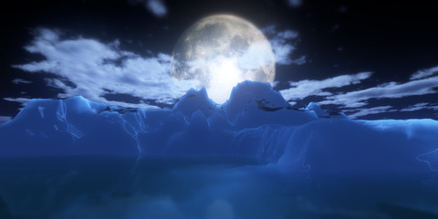ice berg in night full moon