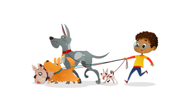African-American boy holds a dog-lead and looks after pets. Kid walks dogs on leash along city street against buildings on background. Cartoon character strolls with her domestic animals in downtown