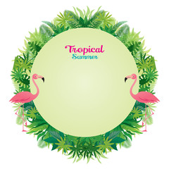 Pink Flamingo with Tropical Jungle Round Frame