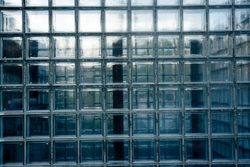 glass brick wall in business disctrict - photographed full frontal