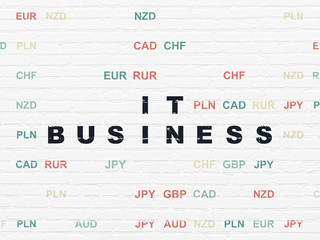 Business concept: Painted black text IT Business on White Brick wall background with Currency