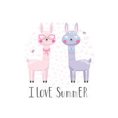 Summer background with two cute llamas