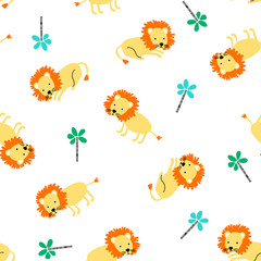 Doodle seamless pattern with lions