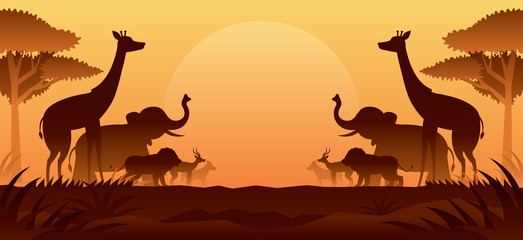 African Safari Animals Silhouette Background Wall mural