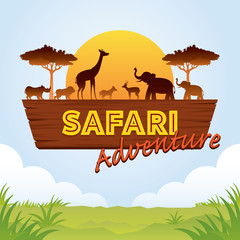 African Safari Adventure Sign with Animals Silhouette