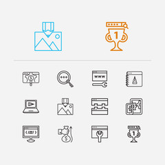 Search icons set. SEO optimization and search icons with image optimization, link building and mobile SEO. Set of magnifier for web app logo UI design.
