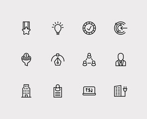 Trade icons set. Reliable value and trade icons with business card, mission and business person. Set of organization for web app logo UI design.