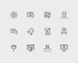 Support icons set. Team and support icons with event, export and satisfaction. Set of voting for web app logo UI design.