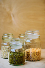 Mung beans in glass jar