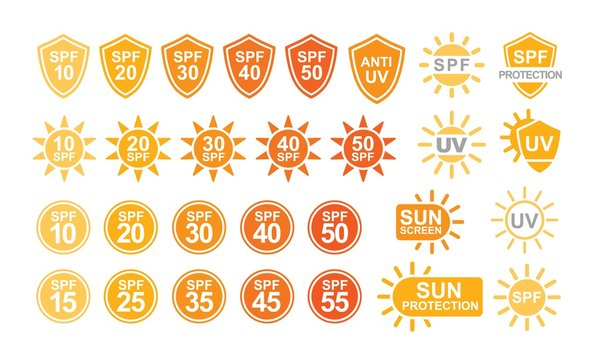 Collection of SPF and UV sun protection labels or signs isolated on white background. Colorful creative vector illustration in simple flat style for sunscreen and tan products or skin cosmetics.
