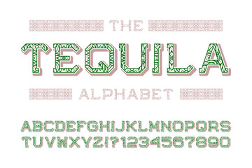 Tequila alphabet with numbers in mexican retro style.