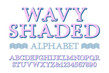 Wavy shaded alphabet with numbers in vintage style.