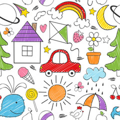 coloring seamless pattern with kids drawings -  vector illustration, eps