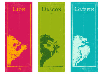 lion, griffin and dragon