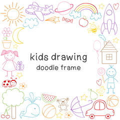 frame with kids drawing -  vector illustration, eps