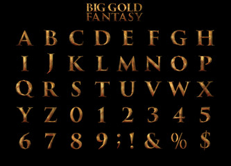 Big Gold Fantasy Alphabet 3D illustration