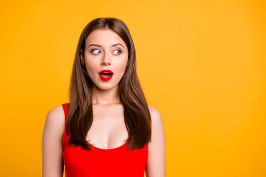 So what do we have here? Close up photo portrait of strange nice beautiful impressed eavesdrop gorgeous pretty brunette with long haitdolooking aside on copy-space isolated vivid bright background