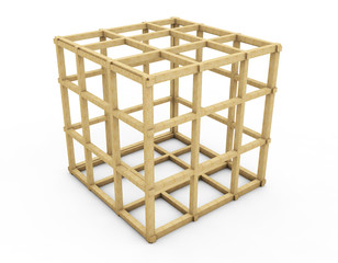 old wooden birdcage - 3d illustration isolated on white