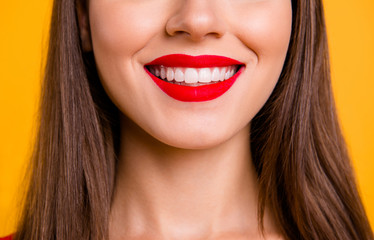 Crop close up portrait half face of woman with beaming smile while being at the dentist