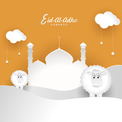 Paper cutout style mosque on desert landscape with sheep and cloud decorated with hanging stars for Muslim festival Eid Al Adha celebration greeting card design.