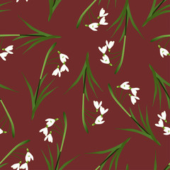 White Snowdrop Seamless on Red Background