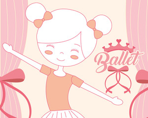 beautiful ballerina ballet character smiling