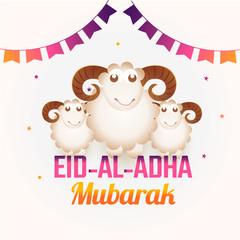 Eid Al Adha greeting card design decorated with bunting flag and sheep illustration for Eid Al Adha Festival of Sacrifice celebration.