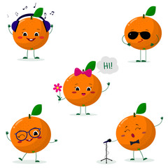 A set of five oranges Smiley in different poses in a cartoon style.