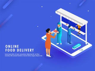Isometric illustration for Online Food Ordering concept, lady character selecting food items from menu and placed order through computer.
