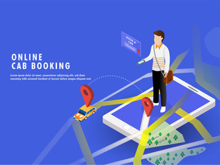 Isometric illustration of a man booking a cab through smartphone with map navigation. Online Cab Booking web template or landing page design.