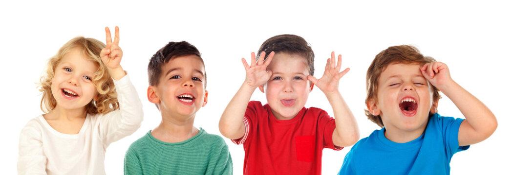 Children doing joke and laughing