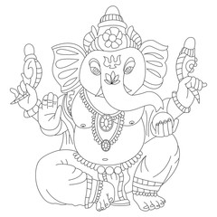 Coloring book page of Lord Ganesha vector cartoon illustration. Hindu god isolated on white background.