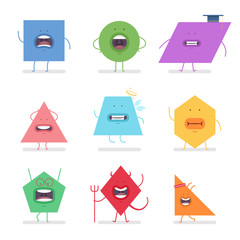Funny geometric shapes with different emotions. Vector cartoon flat character set isolated on white background.