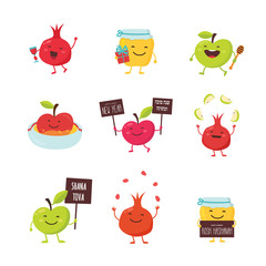 funny icons of cartoon characters for Rosh Hashanah, Jewish holiday. honey jar, apples and pomegranates. Vector illustration design