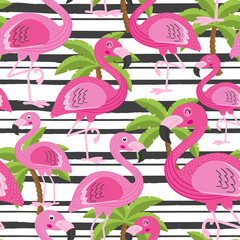 seamless pattern with flamingo and tree palm -  vector illustration, eps